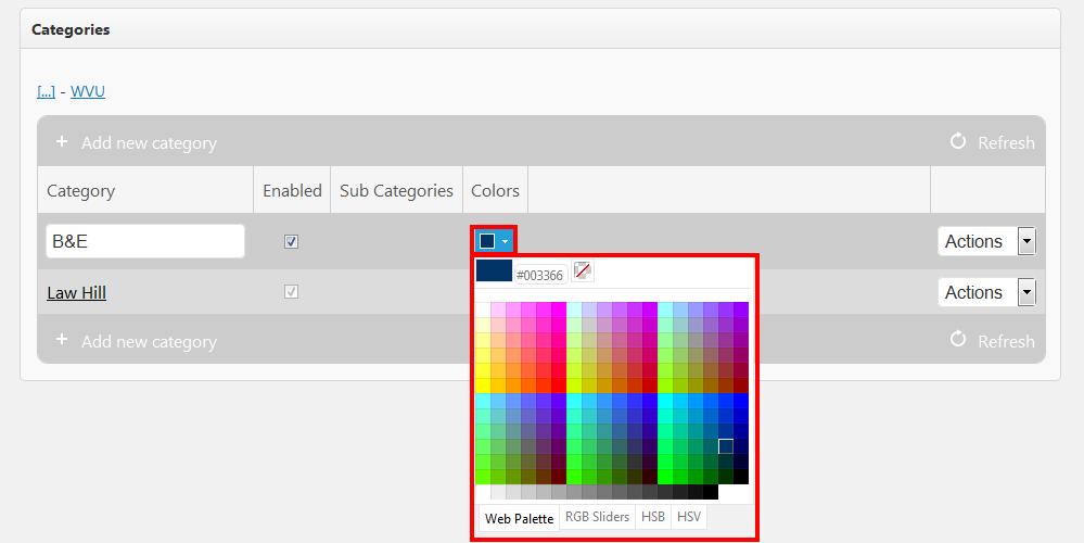 adding a color code to a catgory
