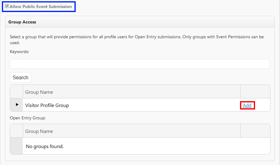 Image of selecting a visitor profile for group access.