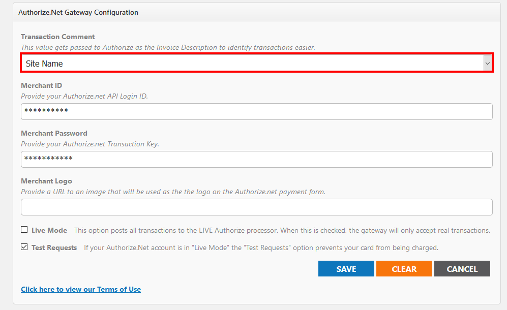 Payment Gateway Setup Transaction Reporting