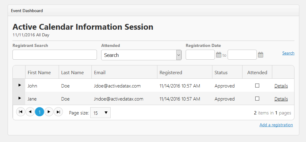 Image of available registration filtering options