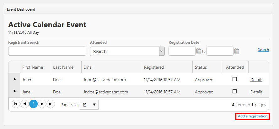 Image of Link to add a registration