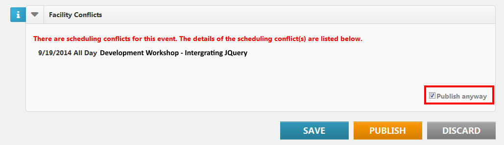facility conflicts on create / modify event