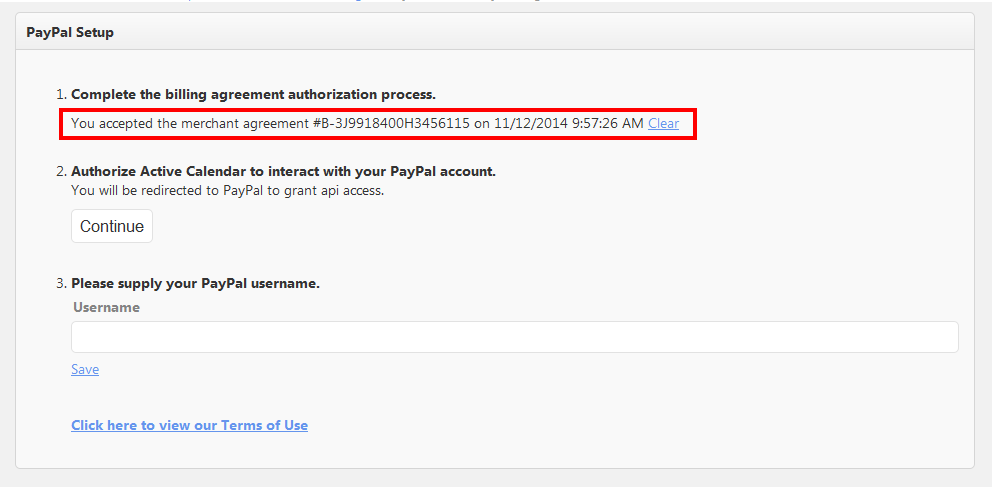 step one of PayPal Setup