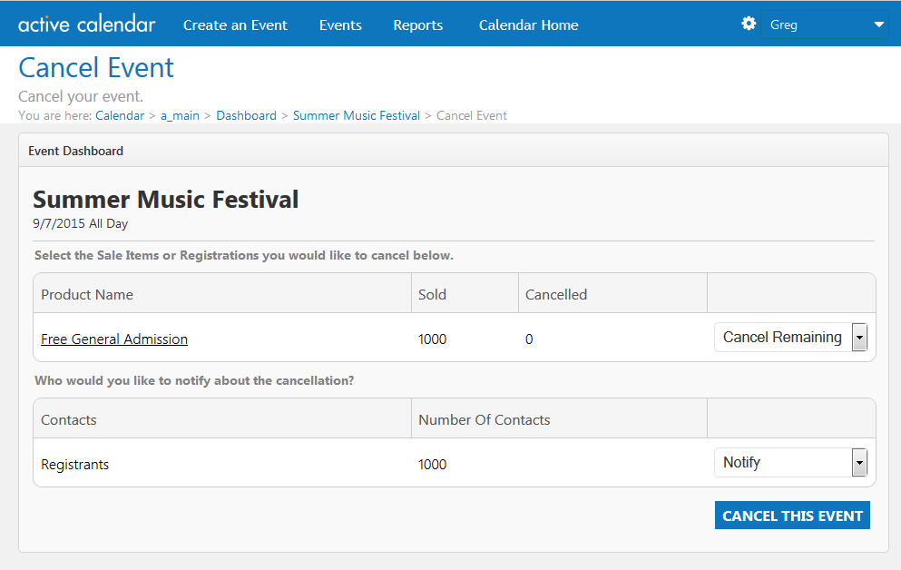 Image of the Event Cancellation Dashboard