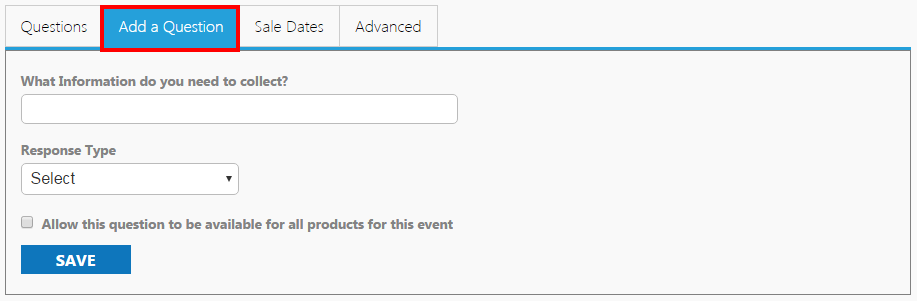 Image of the Questions area on create an event