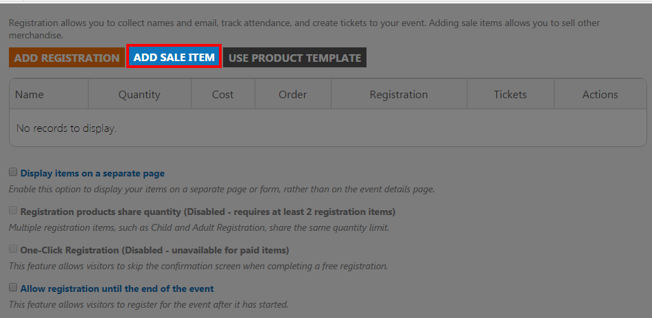 image of add sale item button highlighted