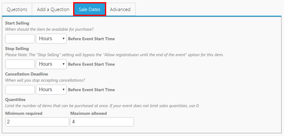 Sales Date Section on a product