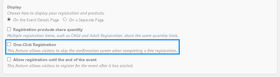 Enable One-click Registration