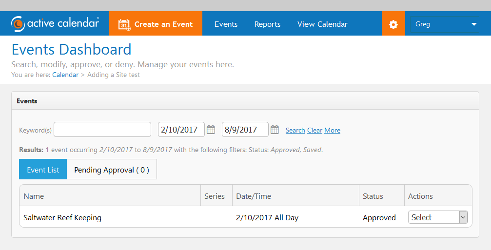 Default display of events dashboard
