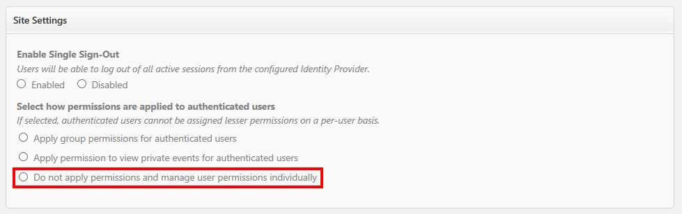 Apply group permissions for authenticated users.