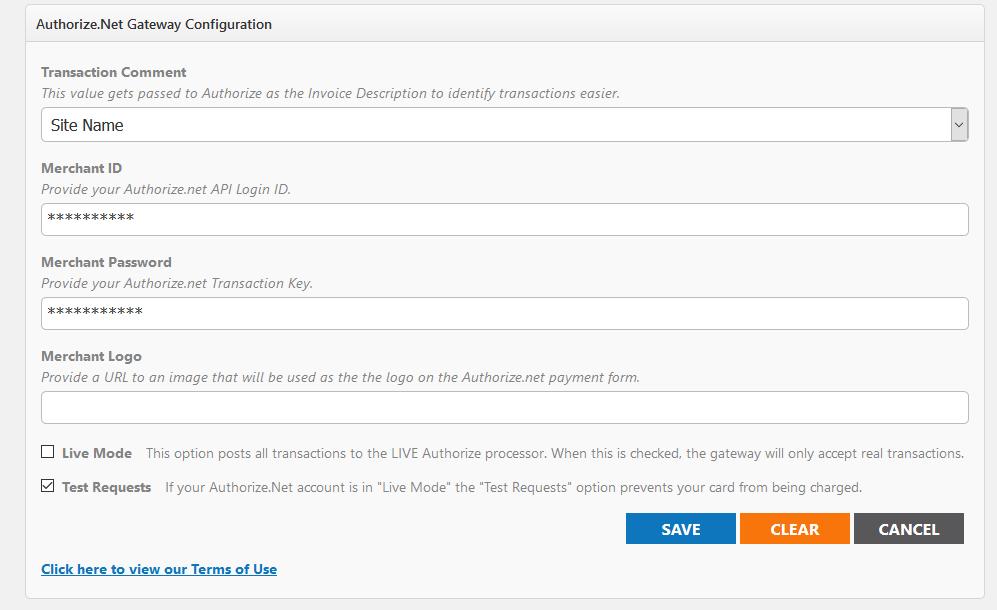 Payment Gateway Configuration - Authorize Net - Event Publisher Help